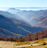Fog in autumn Carpathian. Royalty Free Stock Photo