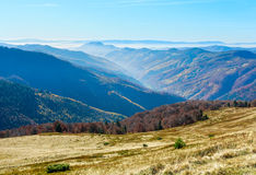 Fog in autumn Carpathian. Stock Images