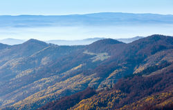 Fog in autumn Carpathian. Stock Image