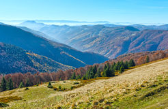 Fog in autumn Carpathian. Royalty Free Stock Photos