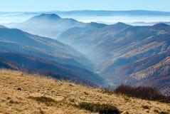 Fog in autumn Carpathian. Royalty Free Stock Photo