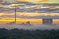 Fog at autumn city sunrise Stock Photos
