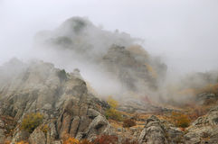 Fog Autumn Mountains Stock Photography