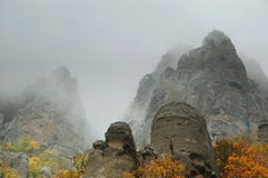 Fog autumn mountains Royalty Free Stock Photo