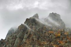 Fog autumn mountains Royalty Free Stock Photo