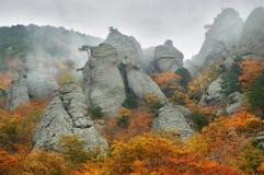 Fog Autumn Mountains Stock Photo
