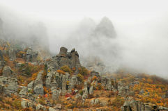 Fog autumn mountains Stock Image