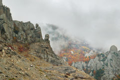 Fog autumn mountains Stock Photo