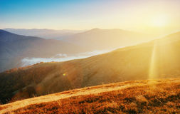 Fog in autumn mountains Royalty Free Stock Images
