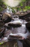 Fog At Bastion Falls Catskill New York. Fog At Bastion Falls in Catskill New York with a roaring waterfall royalty free stock photo