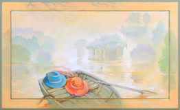 In the fog. Beautiful landscape with a boat on the river bank. Oil painting on wood. Stock Photo