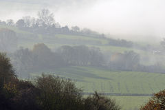 Fog below Downham Hill Stock Photography