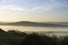 Fog below Dundon Hayes Hill. Polden Hills, Somerset Stock Image