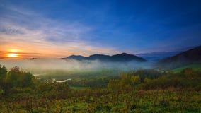 Fog in the Bieszczady Mountains Stock Photo