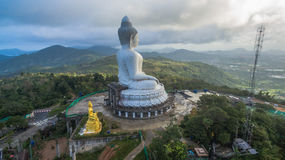 Fog on big Buddha statue Stock Photo