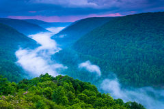 Fog in the Blackwater Canyon at sunset, seen from Lindy Point, B Royalty Free Stock Photos