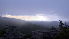 Fog blowing over Jane Bald at Sunset stock video footage