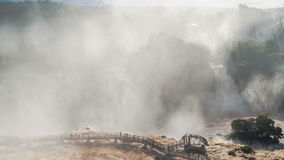 Fog at the bridge of Iguazu Waterfalls. In Brazil Time lapse stock footage