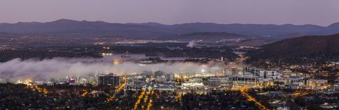 Fog in Canberra City. Fog moving into Canberra city, Australia during autumn Royalty Free Stock Photo
