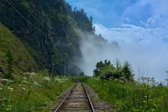 Fog on the Circum-Baikal Stock Image