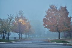 Fog in the city. Parking lot  in a dense fog Stock Image
