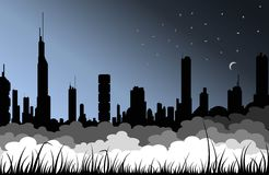 Fog City. Picture of modern big sity in the night with fog and grass silhouettes Royalty Free Stock Photo