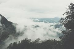 fog & cloud on mountain in morning. mist on hill Stock Photo