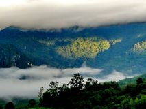 Fog and cloud mountain valley landscape Royalty Free Stock Images