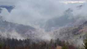 Fog and clouds mountain valley landscape. Magic spring evening at mountains range stock video