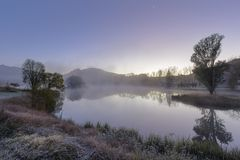 Fog on a cold morning. Drakensberrg South Africa Royalty Free Stock Photos