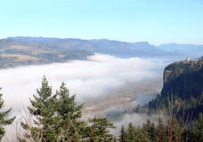 Fog in the Columbia River Gorge Oregon. Royalty Free Stock Photography