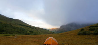 Fog coming in campsite. After tent was set up Royalty Free Stock Photography