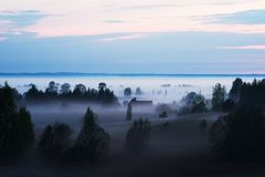 Fog covered valley Royalty Free Stock Images
