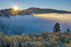 Fog coveres Boise Idaho during an inversion Royalty Free Stock Photo