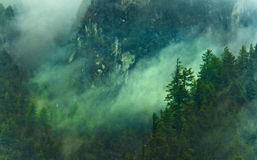 Fog covering the mountain Royalty Free Stock Photography