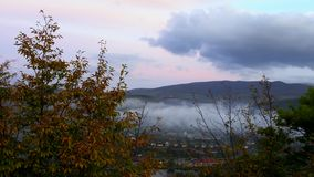 Fog covering the mountain forests in ukraine stock video footage