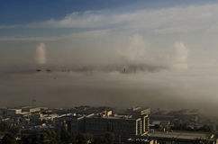 Fog covers industrial zone Royalty Free Stock Image