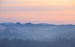 Fog at dawn in the Bieszczady Stock Photography