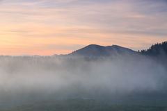 Fog at dawn in the Bieszczady Royalty Free Stock Photo