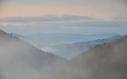 Fog at dawn in the Bieszczady Stock Images