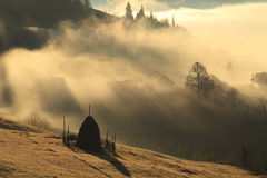 Fog at dawn in the mountains Royalty Free Stock Image