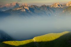 Fog in the dolomites stock images