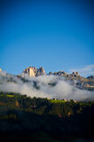 Fog in Dolomites mountains, Italy Royalty Free Stock Photography