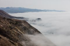 Fog Drifting Along Northern California Coast. Fog drifts across the beautiful northern California coastline in Sonoma. Thick fog, generated by a layer of cool Royalty Free Stock Photo