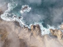 Aerial View of Fog Drifting Over Northern California Coastline Stock Images