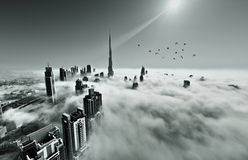 Fog in Dubai. Dubai downtown is covered with dense fog in the winter Stock Images