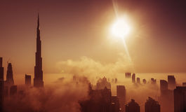 Fog in Dubai. Where skyline is covered with fog in the morning Royalty Free Stock Photography