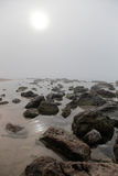 Fog in el arenal beach in mallorca Royalty Free Stock Photography