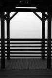 Fog engulfed dock. Empty, fog engulfed dock on the St Johns River in Jacksonville Florida Stock Photo