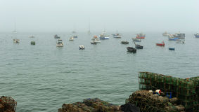 Fog at the fishing port at Cascais, Portugal Stock Images